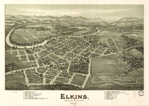 Elkins, Randolph County, W.Va. 1897. Drawn by T. M. Fowler. Courtesy of  Library of Congress, Geography and Map Division.