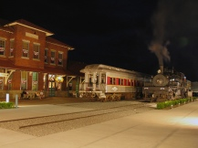 Both steam and diesel trains at the Depot.
