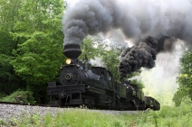 One of the steam locomotives that run out of the Cass Scenic Railroad State Park. © Wayne Sheets