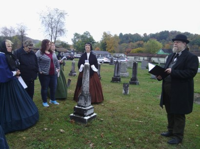 Beverly Cemetery Walk 2014. The Historic Beverly hosts are dressed in examples of traditional mourning clothes.